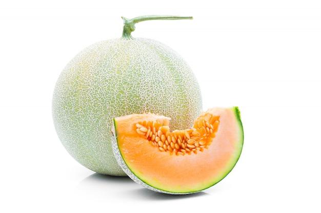 白い背景の上のメロンフルーツ
