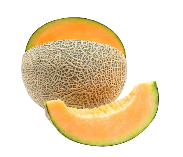 白い背景で隔離のメロン、日本の甘い果物