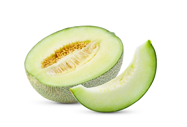 Melon slice isolated on white. full depth of field