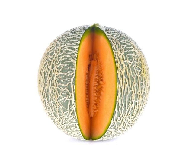 Melon on a white surface