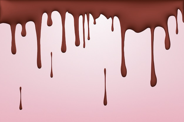 Melted chocolate leaking, dripping flowing streams of drops