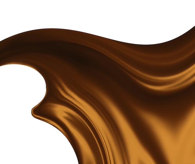 白い背景の上の溶かしたチョコレート