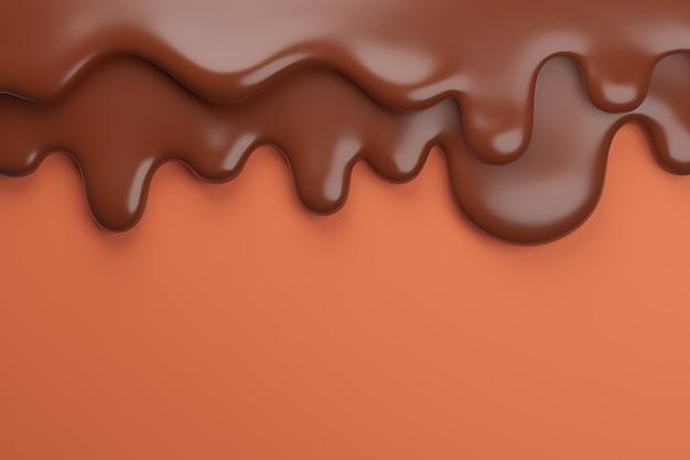Растопленный молочно-коричневый шоколад стекает вниз,