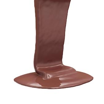 Растопленный молочный шоколад на белом фоне