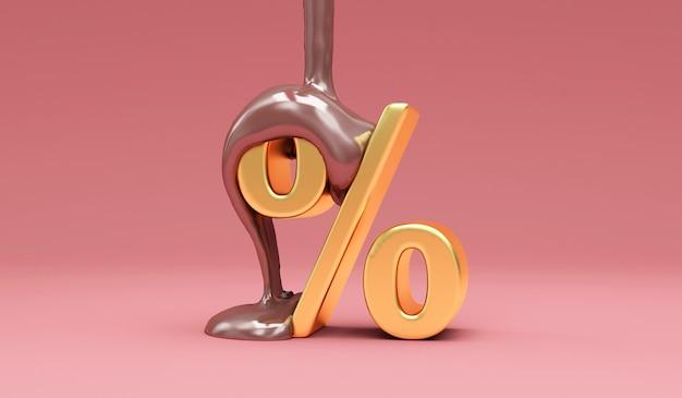 ピンクの黄金のパーセント記号に注ぐ溶かしたミルクチョコレート