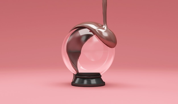 Melted milky chocolate pouring on empty crystal ball on pink studio background