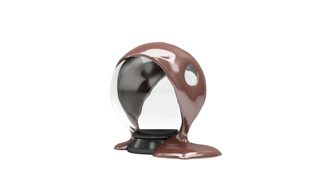 Melted milky chocolate pouring on empty crystal ball on white