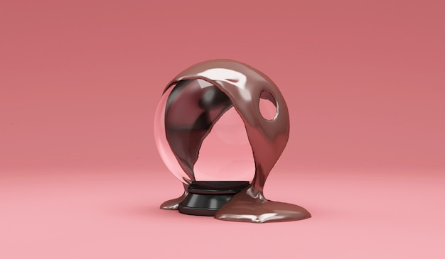 ピンクの空のクリスタルボールに注ぐ溶けたミルクチョコレート