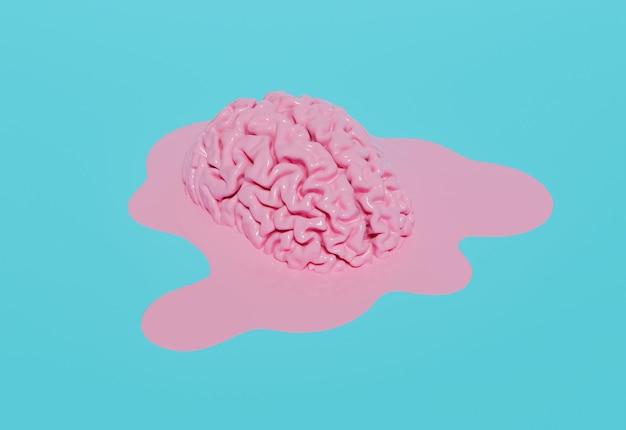 파스텔 블루 바탕에 녹은 핑크 두뇌. 3d 렌더링