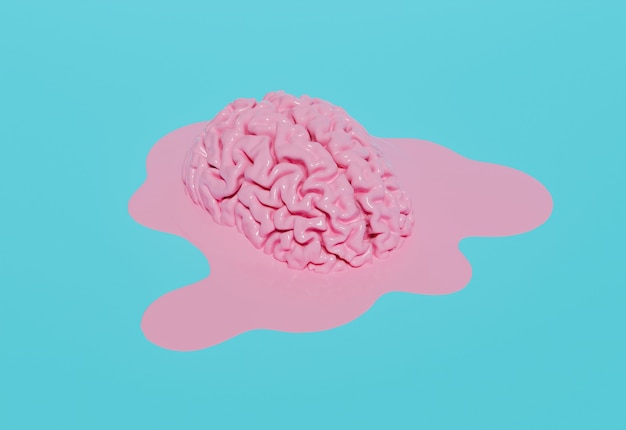 Melted pink brain on pastel blue background. 3d rendering