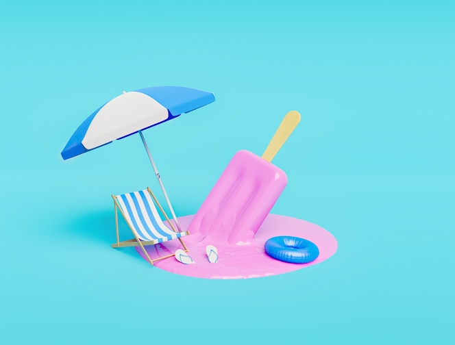 Melted strawberry ice cream with beach accessories