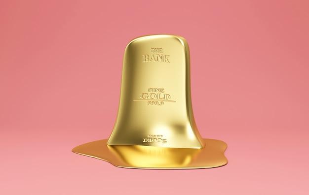 Тающий плоский золотой бар на розовом фоне студии