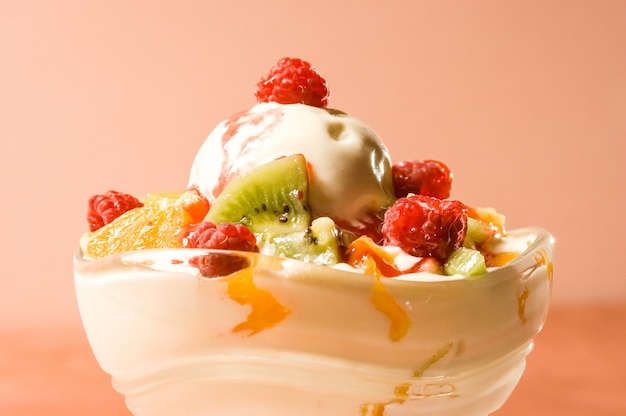 Melting ice cream with fruits