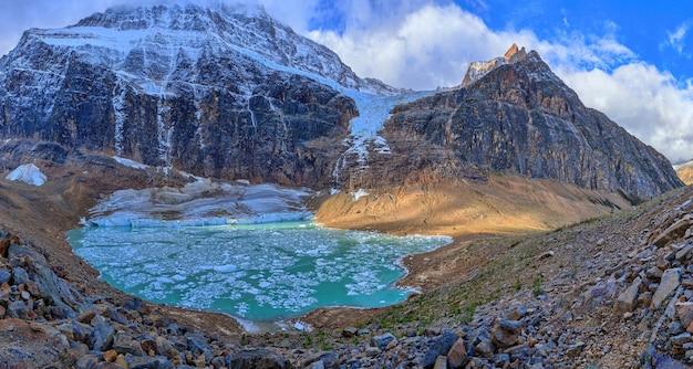 Meltwater lake below mount edith cavell jasper national park alberta canada