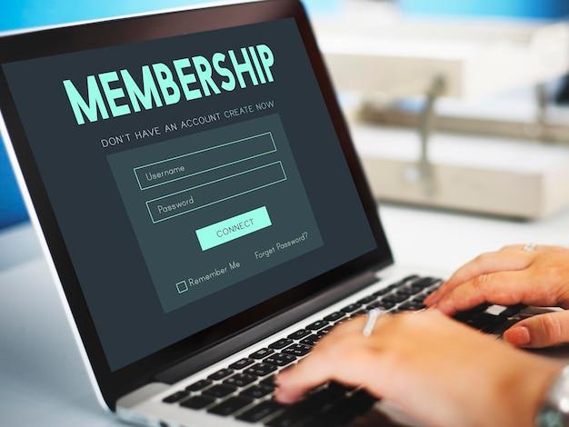Accesso membro iscrizione nome utente password concetto