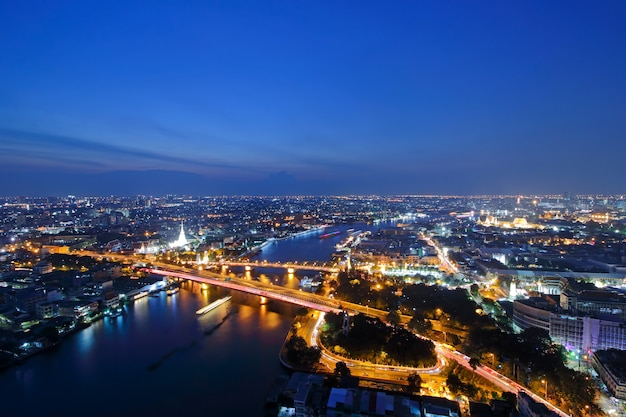 Memorial bridge, phra phuttha yodfa bridge, phra pok klao bridge at sunset landmark of bangkok thailand