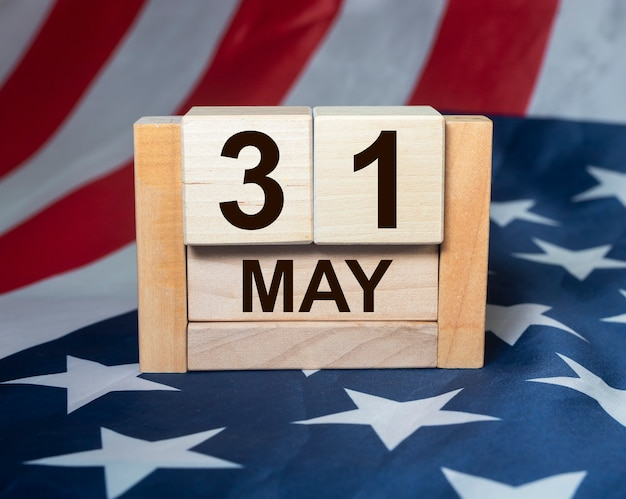 Memorial day on american flag background