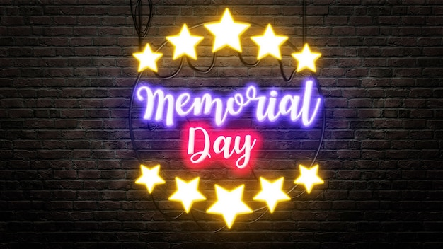 Memorial day sign emblem in neon style on brick wall background