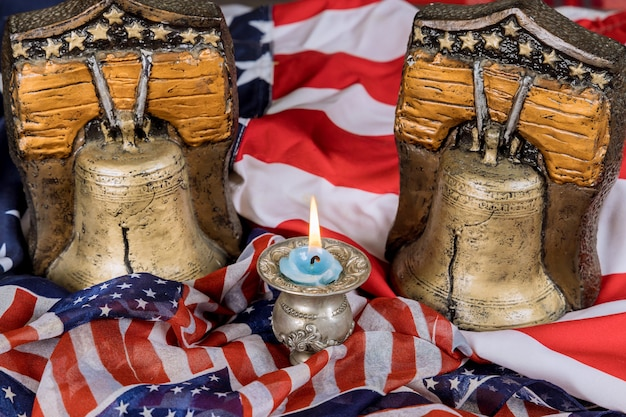 Memorial happy day remember those who served with candle memory and remember bell