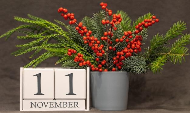 추억과 중요한 날짜 11월 11일, 탁상 달력 - 가을 시즌.