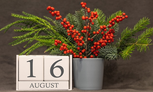 Memory and important date august 16, desk calendar - summer season.