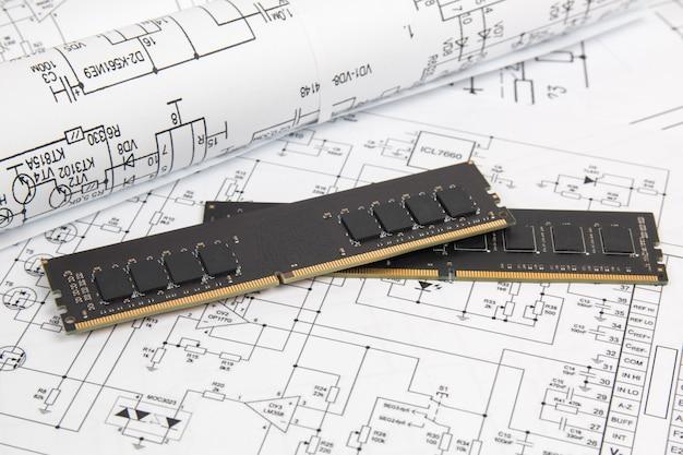 종이 전자 도면의 메모리 모듈 dimm 유형 ddr4