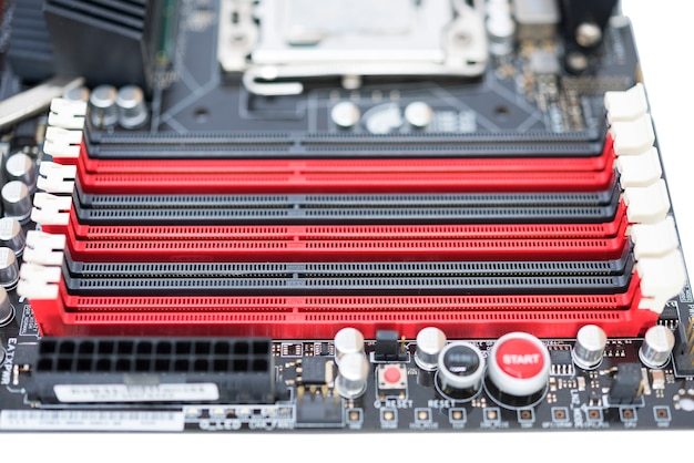 Memory slots on motherboard with cpu and chipset