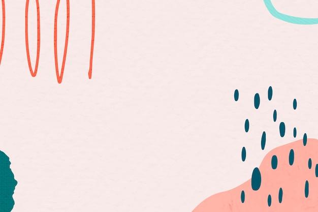 ピンクと緑の抽象的なカラフルな落書きメンフィスの絵のメンフィスフレーム