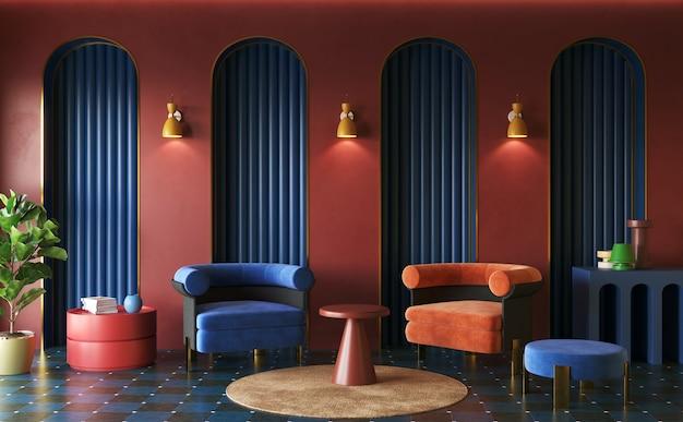 Memphis interior design of living room deepcoloured decor ideas 3d render