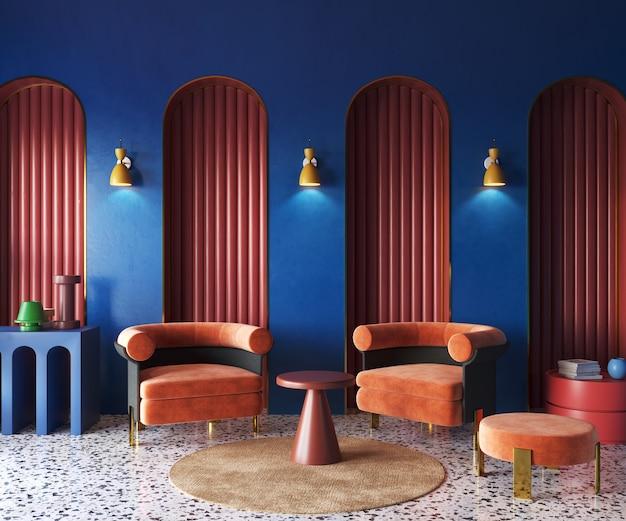 Memphis interior desing of living room arches in interior 3d render