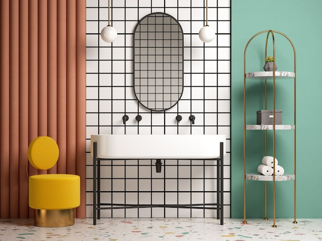 Мемфис стиль концептуальный интерьер ванной комнаты 3 d иллюстрации