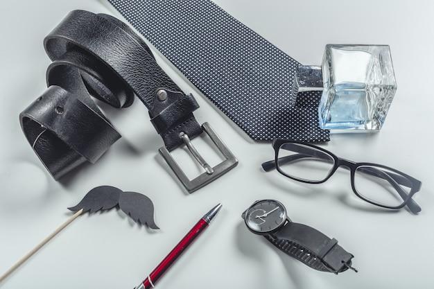 Men accessories. top view.