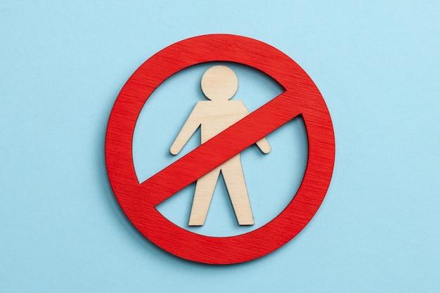 Men are forbidden. male prohibition sign. no boys.
