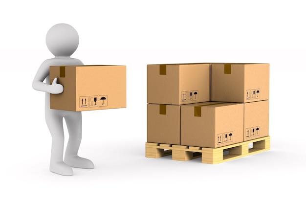 남자는 공백에화물 상자를 운반합니다. 격리 된 3d 그림