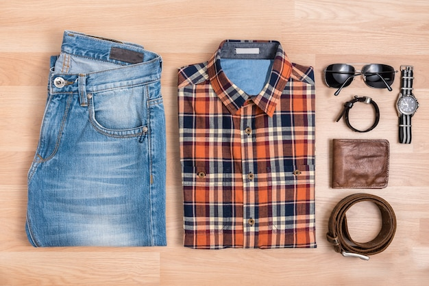 Men casual outfits with accessories on table top view