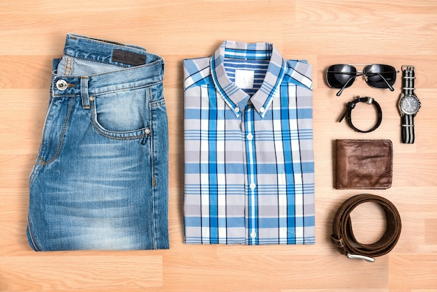 Men casual outfits with accessories on table