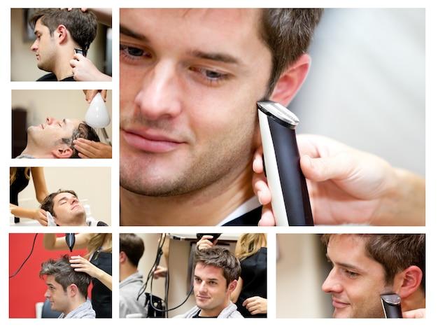 Men cutting beautician snip salon clean