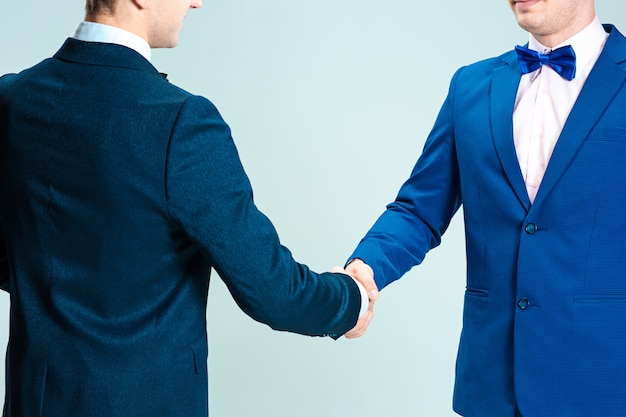 Men in elegant suit shaking hands, agreements concept