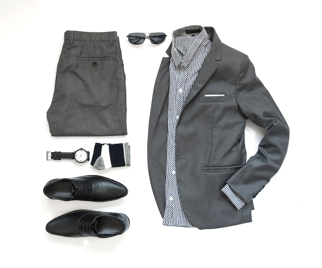 Men fashion clothing set and accessories on white, top view