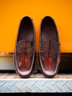 Men fashion concept. penny loafer shoes leather .