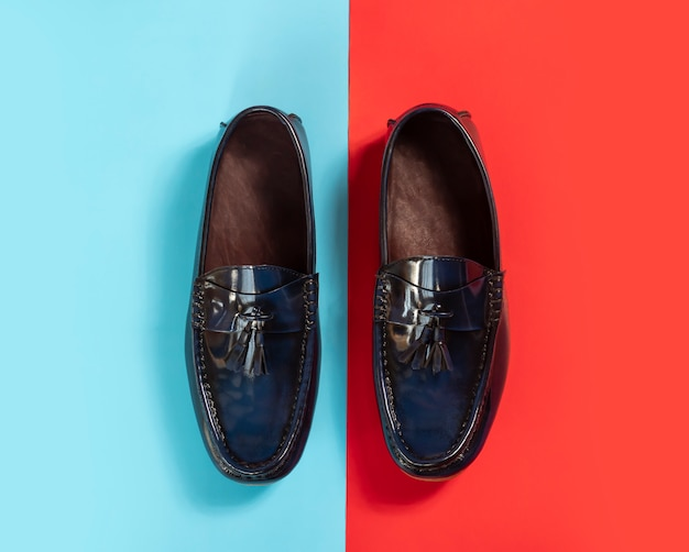 Men fashion leather tassel loafer shoes on colourful background.