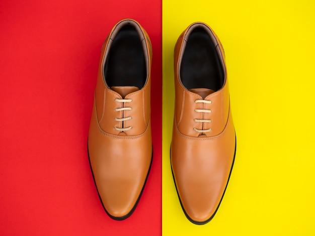 Men fashion office shoes. top view