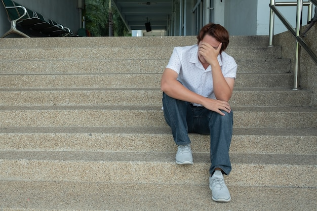 Men feel sad because of unemployment with dark tone color