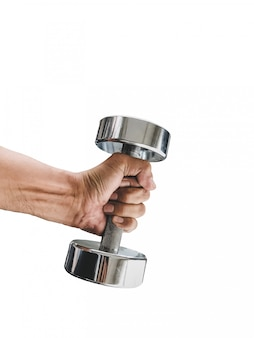 Men hand holding a dumbbell isolated on white background