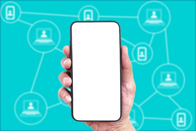Men hand holding mobile smartphone empty touch screen on blockchain background.