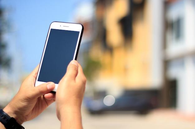 Men holding mobile phone