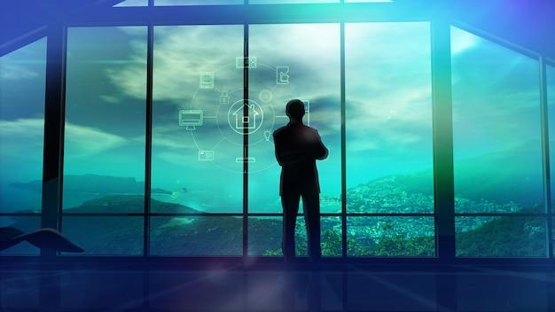 Men in the huge office in front of large windows d illustration