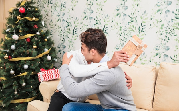 Men hugging on couch near christmas tree