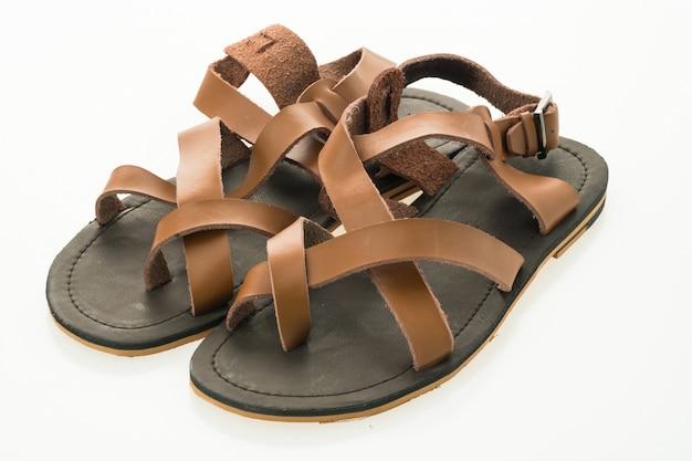 Men leather sandal and flip flop shoes Free Photo