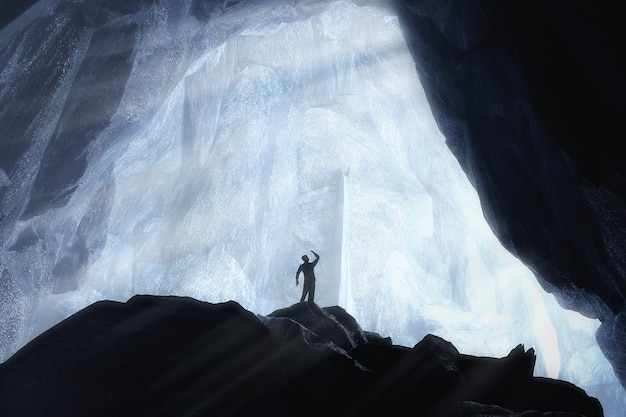 블루 크리스탈 얼음 동굴과 지하 극단적인 근접 촬영에서 남자 사람 실루엣. 3d 렌더링